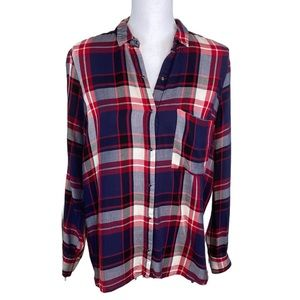 Large Red Blue Zara Button Down Collared Shirt